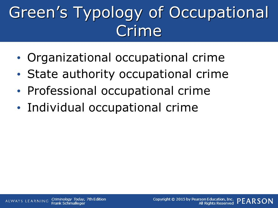 Copyright © 2015 by Pearson Education, Inc. All Rights Reserved Criminology Today, 7th Edition Frank Schmalleger Green's Typology of Occupational Crim
