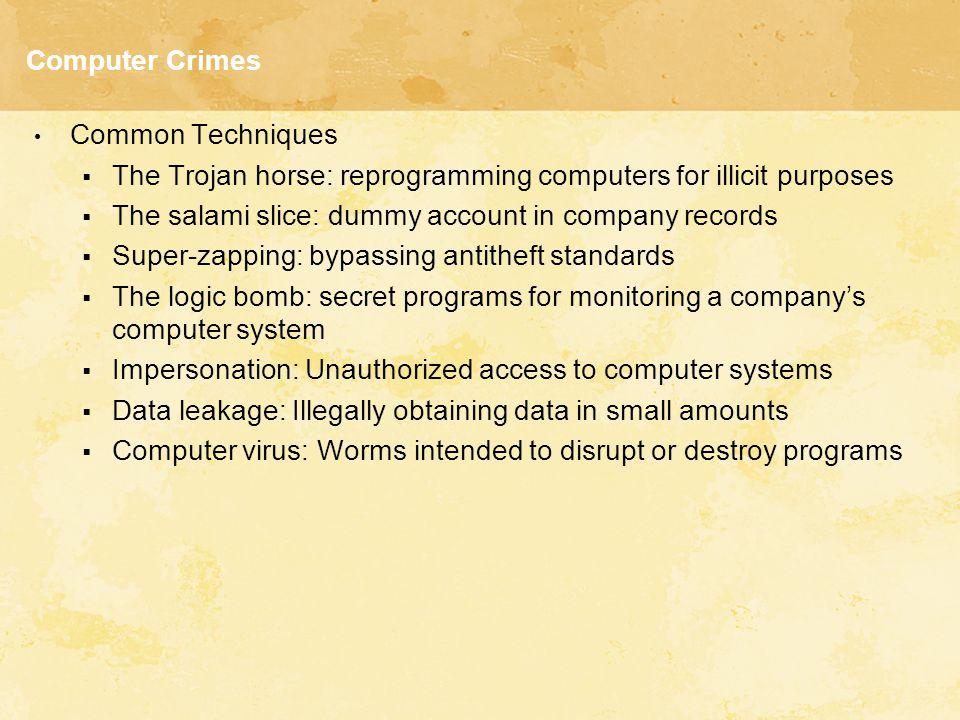 Computer Crimes Common Techniques  The Trojan horse: reprogramming computers for illicit purposes  The salami slice: dummy account in company record
