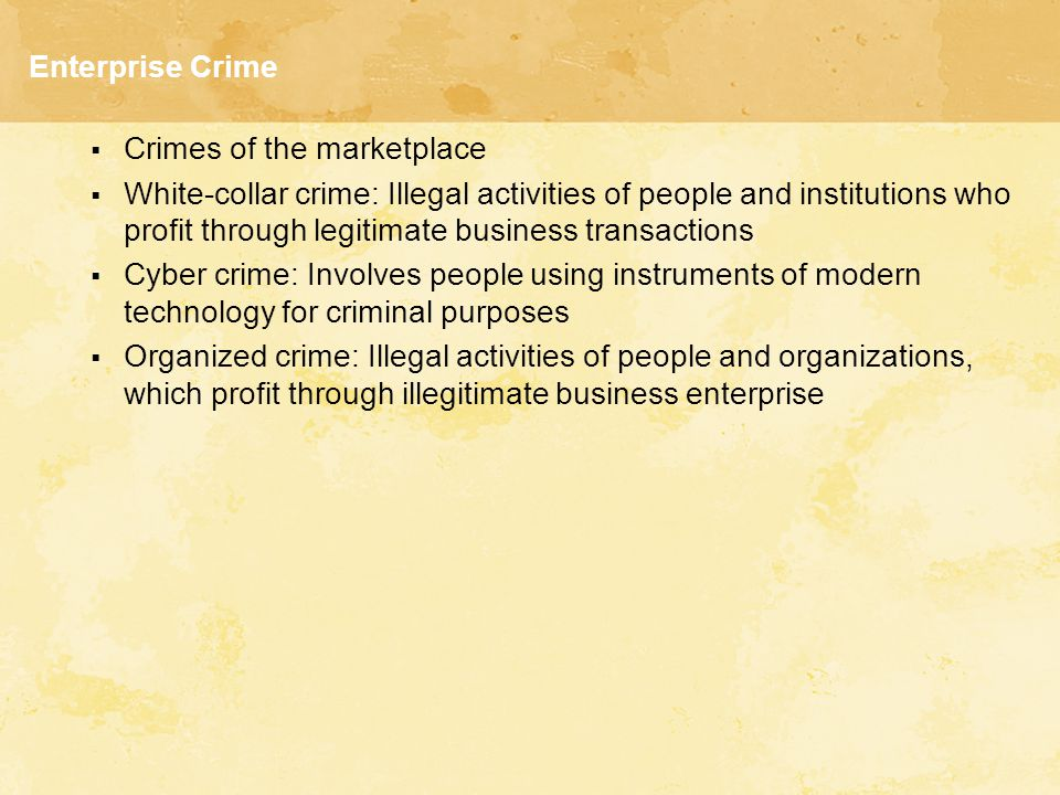 Figure 12.1 Enterprise Crime: White Collar, Cyber Crime, and Organized Crime