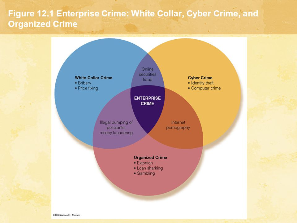 Organized Crime Controlling Organized Crime  In 1970 Congress passed the Organized Crime Control Act (Title IX-RICO)  Influenced and Corrupt Organization Act (RICO) created new categories of offenses: Deriving income from racketeering Acquiring an interest or control over an enterprise engaged in interstate or foreign commerce Conspiring to make income, loans, or conducting business through racketeering means  Enterprise theory of investigation (ETI): model used by the FBI as an investigative tool that focuses on the structure of the criminal enterprise rather than on the criminal acts