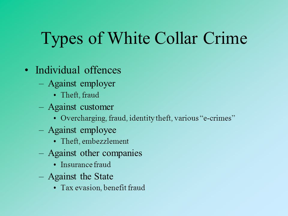"""Edwin Sutherland (1941) White Collar Crime """"crime committed by persons of high social status and respectability"""" a critiques of criminology's focus on"""