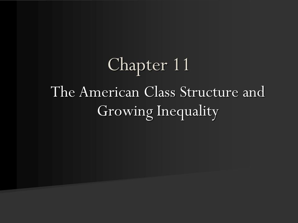 Chapter 11 The American Class Structure and Growing Inequality