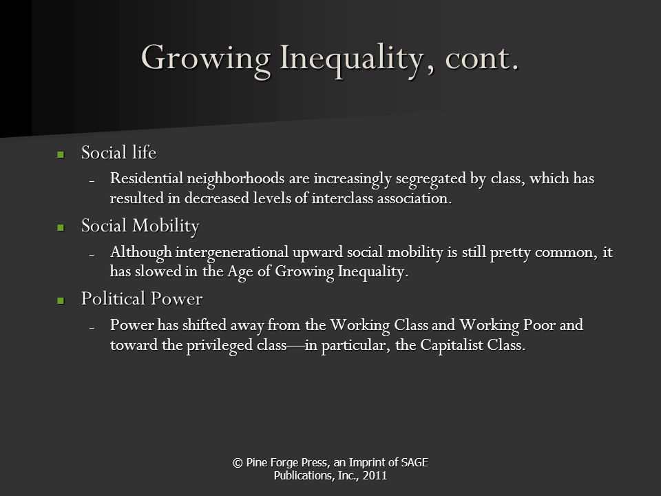 © Pine Forge Press, an Imprint of SAGE Publications, Inc., 2011 Growing Inequality, cont. Social life Social life – Residential neighborhoods are incr