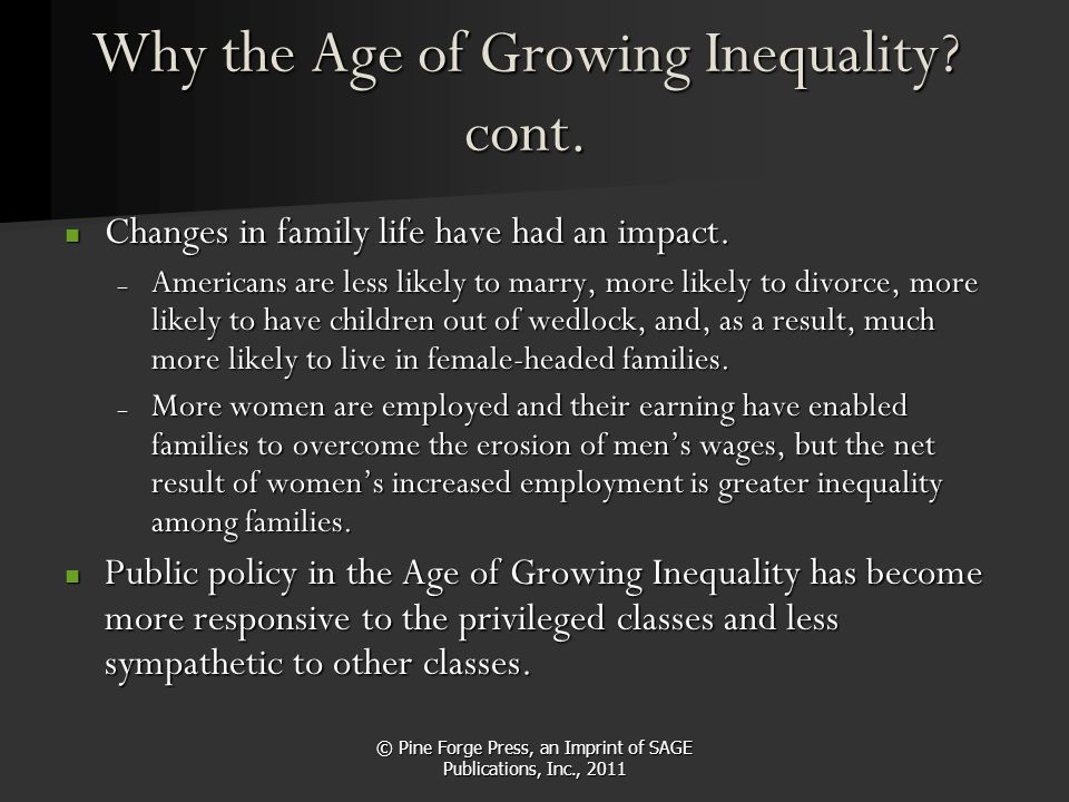 © Pine Forge Press, an Imprint of SAGE Publications, Inc., 2011 Why the Age of Growing Inequality? cont. Changes in family life have had an impact. Ch