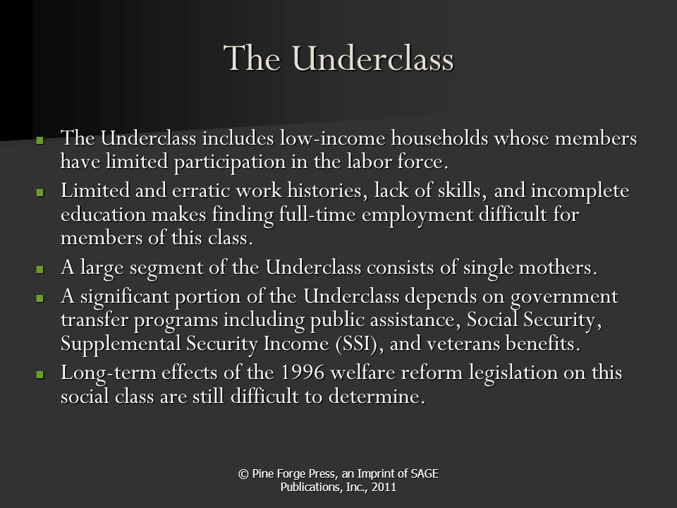 © Pine Forge Press, an Imprint of SAGE Publications, Inc., 2011 The Underclass The Underclass includes low-income households whose members have limite