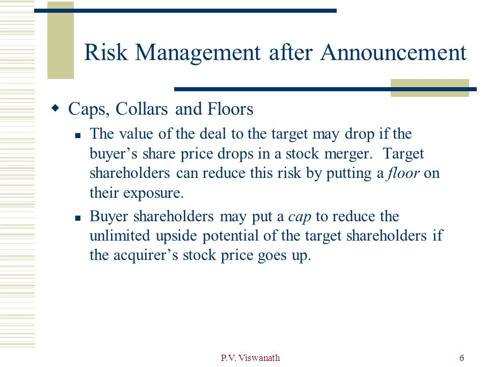P.V. Viswanath6 Risk Management after Announcement  Caps, Collars and Floors The value of the deal to the target may drop if the buyer's share price