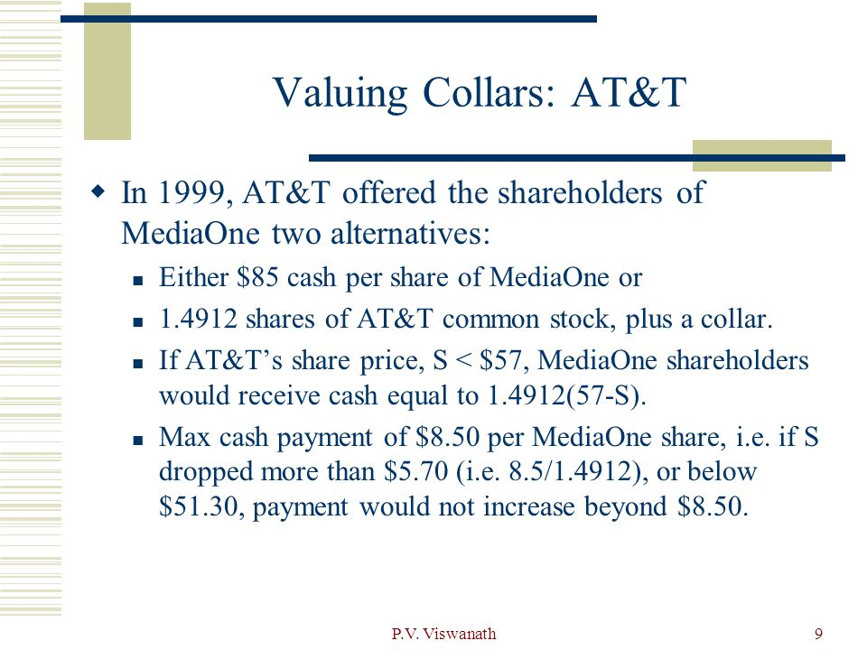 P.V. Viswanath9 Valuing Collars: AT&T  In 1999, AT&T offered the shareholders of MediaOne two alternatives: Either $85 cash per share of MediaOne or