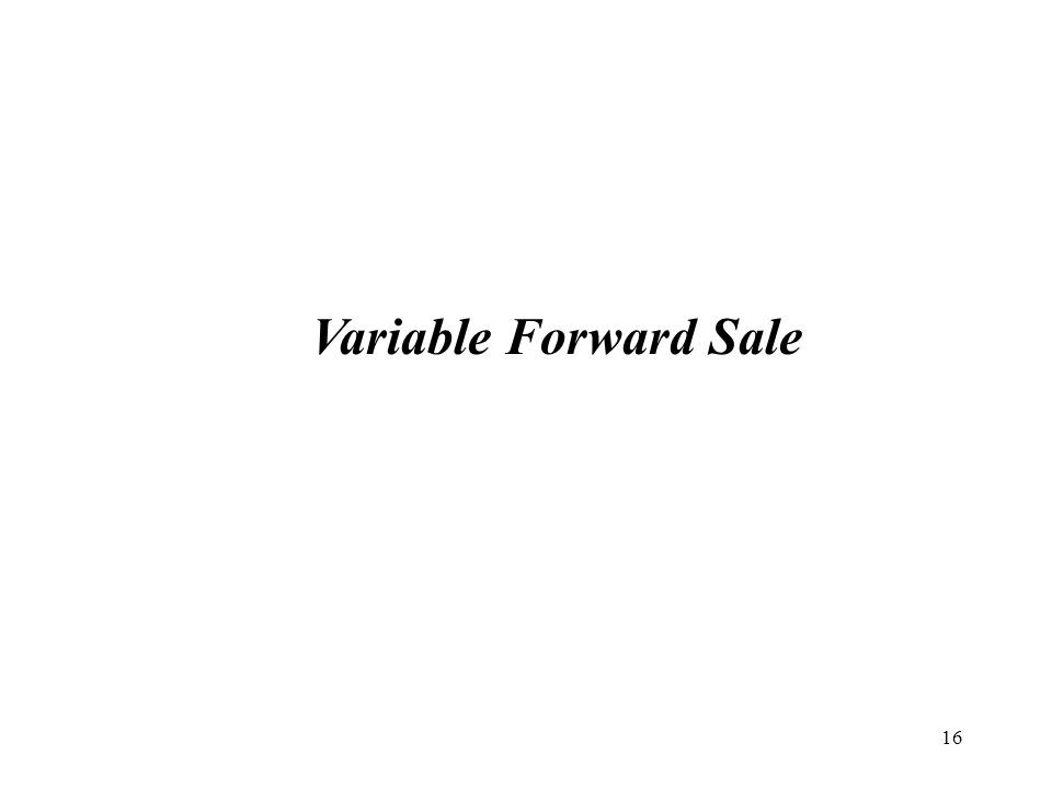17 Equity Derivatives Solution: Variable Forward Sale Hedge, Monetize and Invest: A Variable Forward Sale ( VFS ) is an alternative to the Equity Collar.