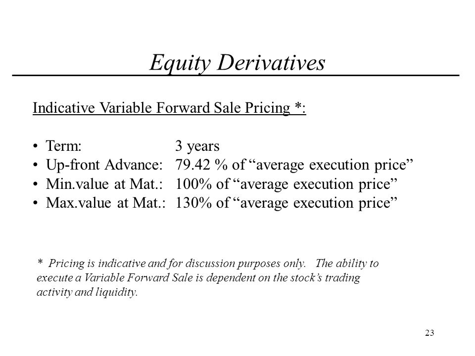 24 Equity Derivatives Variable Forward Sale Benefits: Hedge against ABC falling below the Floor.
