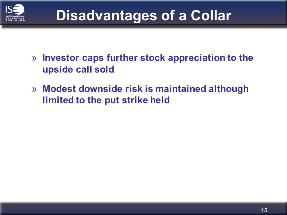 15 Disadvantages of a Collar »Investor caps further stock appreciation to the upside call sold »Modest downside risk is maintained although limited to
