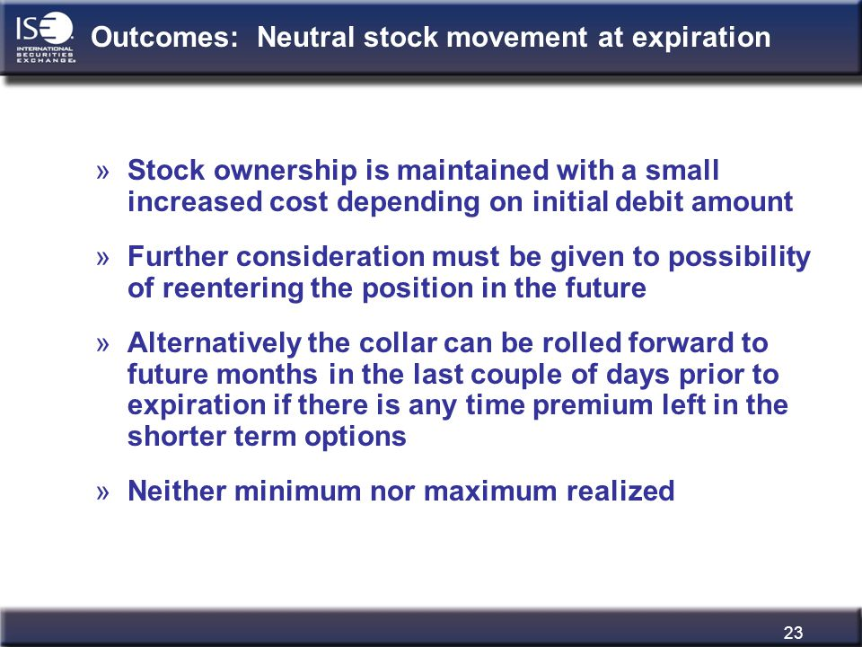 23 Outcomes: Neutral stock movement at expiration »Stock ownership is maintained with a small increased cost depending on initial debit amount »Furthe