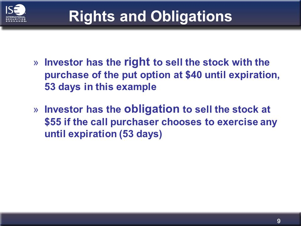 9 Rights and Obligations »Investor has the right to sell the stock with the purchase of the put option at $40 until expiration, 53 days in this exampl