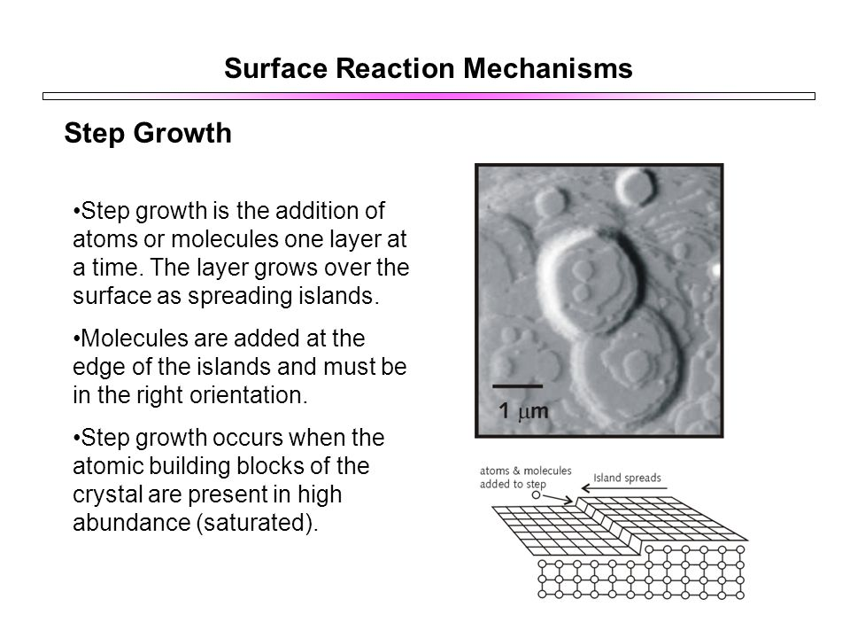 Surface Reaction Mechanisms Step Growth Step growth is the addition of atoms or molecules one layer at a time.