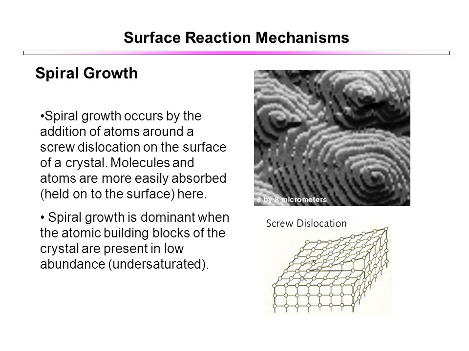Surface Reaction Mechanisms Spiral Growth Spiral growth occurs by the addition of atoms around a screw dislocation on the surface of a crystal.
