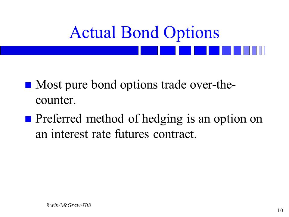 Irwin/McGraw-Hill 10 Actual Bond Options n Most pure bond options trade over-the- counter.