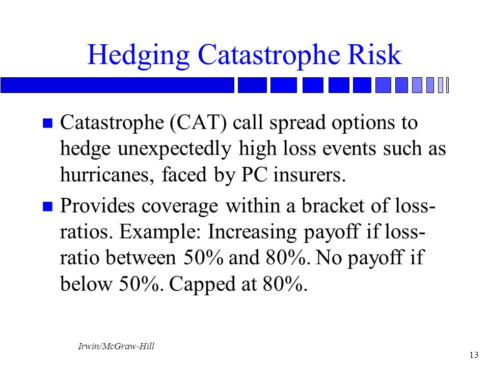 Irwin/McGraw-Hill 13 Hedging Catastrophe Risk n Catastrophe (CAT) call spread options to hedge unexpectedly high loss events such as hurricanes, faced by PC insurers.