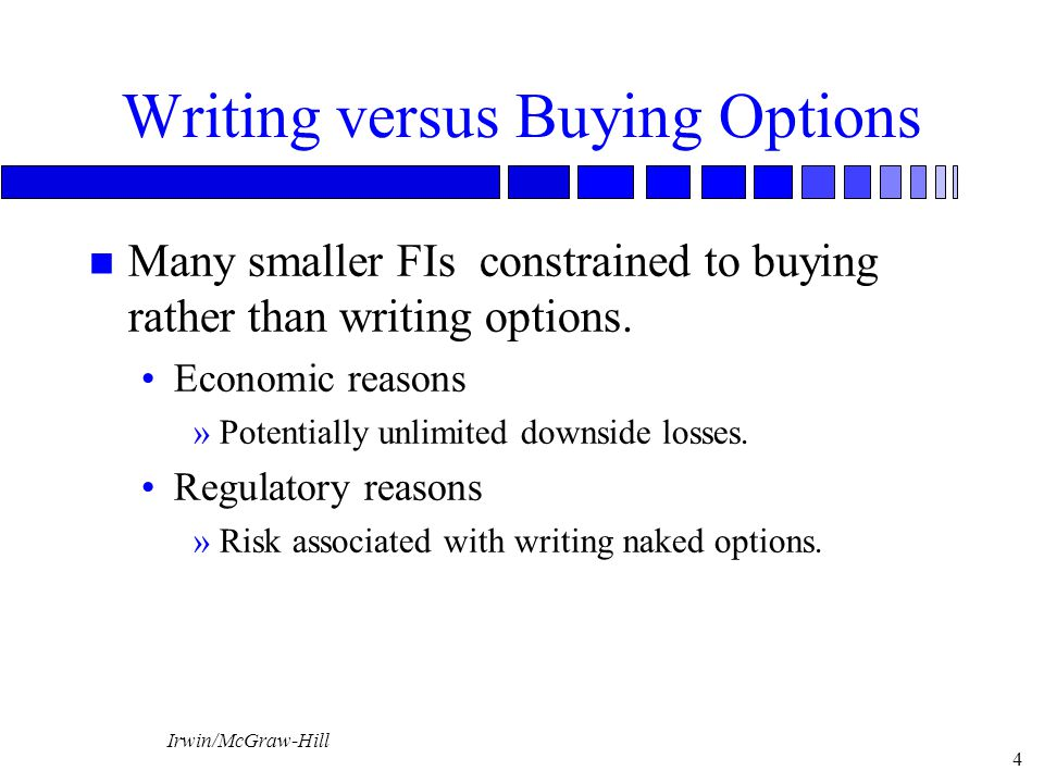 Irwin/McGraw-Hill 4 Writing versus Buying Options n Many smaller FIs constrained to buying rather than writing options.