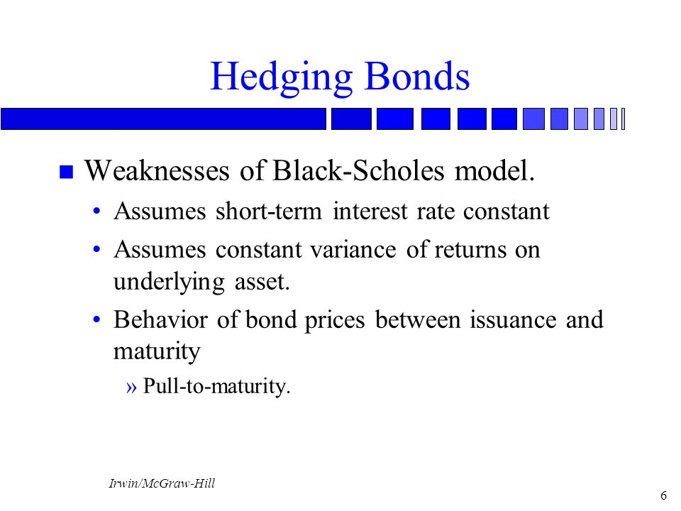 Irwin/McGraw-Hill 7 Hedging With Bond Options Using Binomial Model Example: FI purchases zero-coupon bond with 2 years to maturity, at P 0 = $80.45.