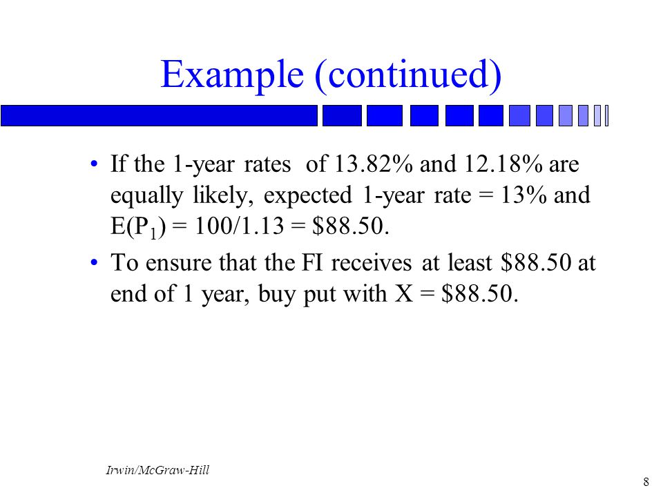 Irwin/McGraw-Hill 8 Example (continued) If the 1-year rates of 13.82% and 12.18% are equally likely, expected 1-year rate = 13% and E(P 1 ) = 100/1.13 = $88.50.