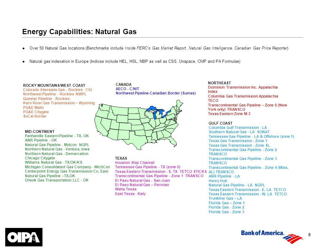 8 GULF COAST Columbia Gulf Transmission - LA Southern Natural Gas - LA SONAT Tennessee Gas Pipeline - LA & Offshore (zone 1) Texas Gas Transmission - Zone 1 Texas Gas Transmission - Zone SL Transcontinental Gas Pipeline - Zone 2 TRANSCO Transcontinental Gas Pipeline - Zone 3 TRANSCO Transcontinental Gas Pipeline - Zone 4 (Miss, AL) TRANSCO ANR Pipeline - LA Henry Hub Natural Gas Pipeline - LA NGPL Texas Eastern Transmission - E.