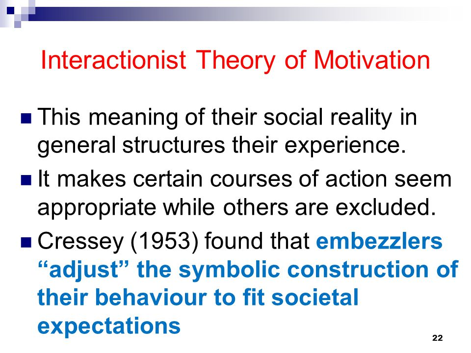 22 Interactionist Theory of Motivation This meaning of their social reality in general structures their experience. It makes certain courses of action
