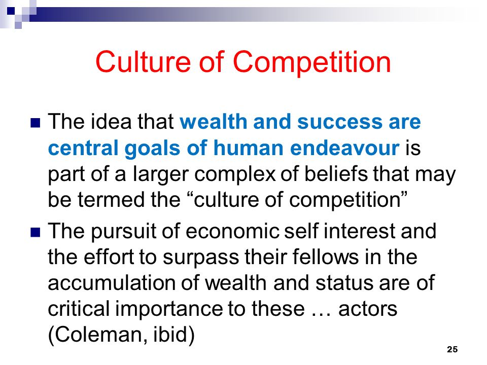 25 Culture of Competition The idea that wealth and success are central goals of human endeavour is part of a larger complex of beliefs that may be ter