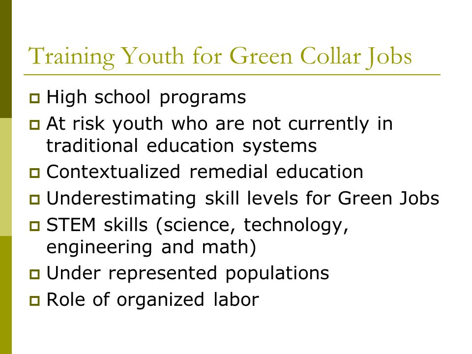 Training Youth for Green Collar Jobs  High school programs  At risk youth who are not currently in traditional education systems  Contextualized remedial education  Underestimating skill levels for Green Jobs  STEM skills (science, technology, engineering and math)  Under represented populations  Role of organized labor