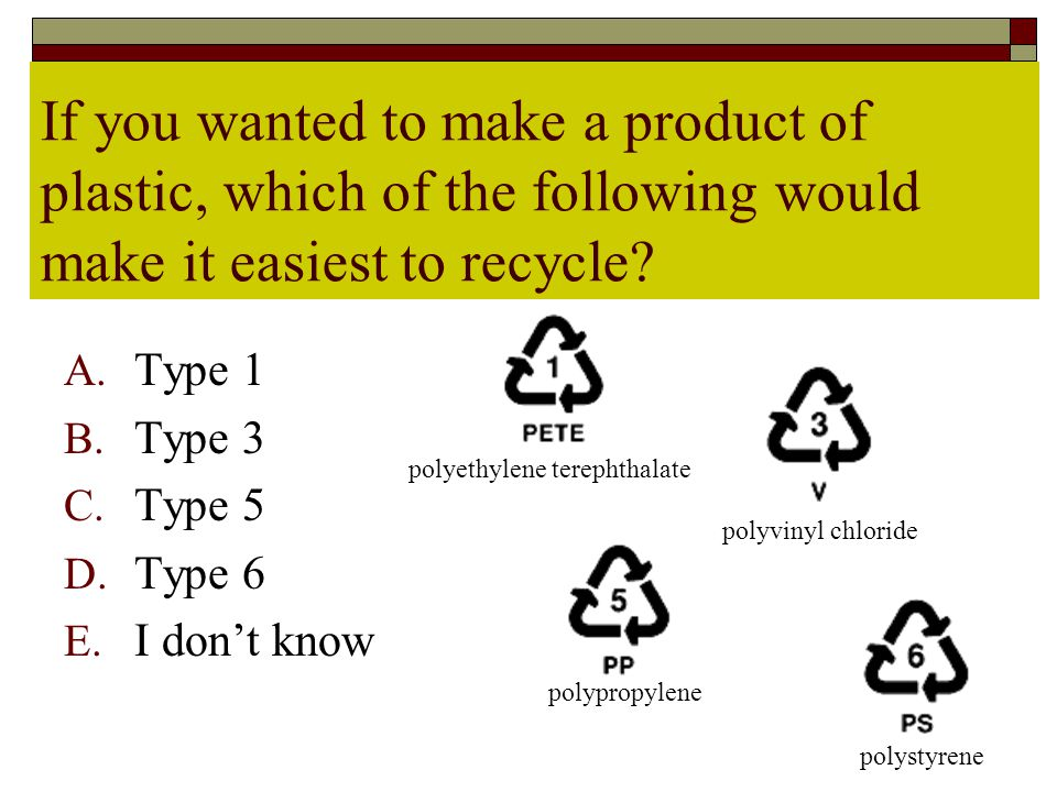 If you wanted to make a product of plastic, which of the following would make it easiest to recycle.