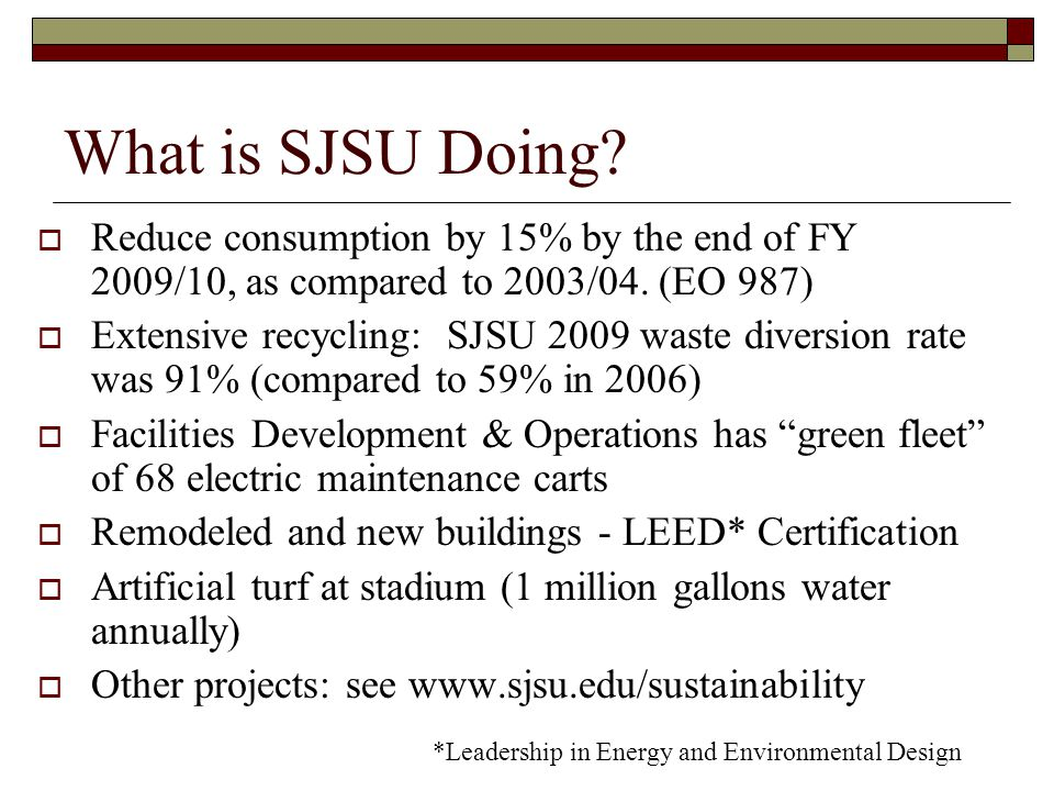 What is SJSU Doing.  Reduce consumption by 15% by the end of FY 2009/10, as compared to 2003/04.