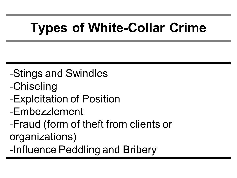 Types of White-Collar Crime -Stings and Swindles -Chiseling -Exploitation of Position -Embezzlement -Fraud (form of theft from clients or organizations) -Influence Peddling and Bribery