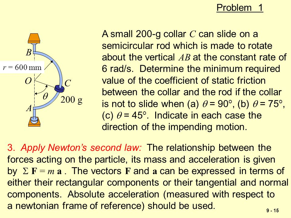 9 - 15 Problem 1  r = 600 mm C A B 200 g O A small 200-g collar C can slide on a semicircular rod which is made to rotate about the vertical AB at th