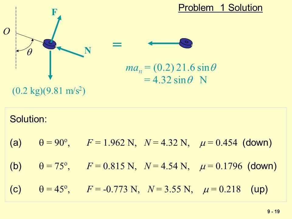 9 - 19 Problem 1 Solution  (0.2 kg)(9.81 m/s 2 ) O N F ma n = (0.2) 21.6 sin  = 4.32 sin  N = Solution: (a)  = 90 o, F = 1.962 N, N = 4.32 N,  =