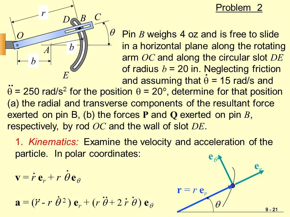 9 - 21 Problem 2  b b r O A B C D E 1. Kinematics: Examine the velocity and acceleration of the particle. In polar coordinates: v = r e r + r  e  a