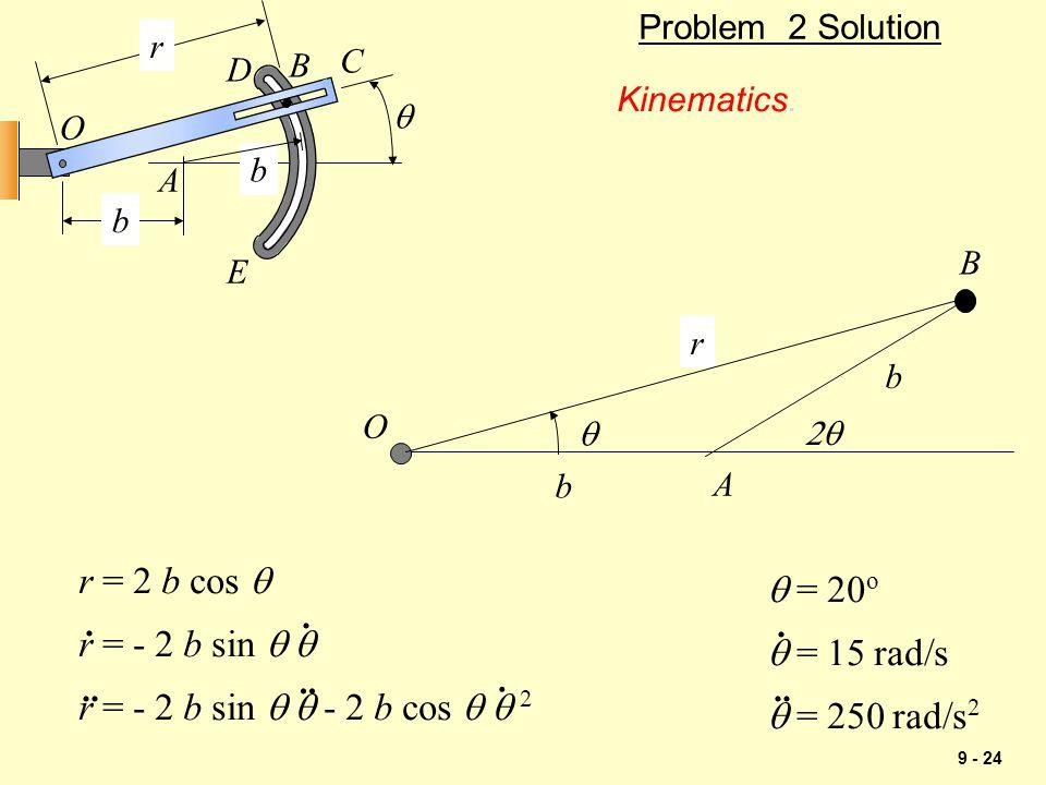 9 - 24 Problem 2 Solution Kinematics.  b b r O A B C D E  b r O A B  b r = 2 b cos  r = - 2 b sin   r = - 2 b sin   - 2 b cos   2....... 