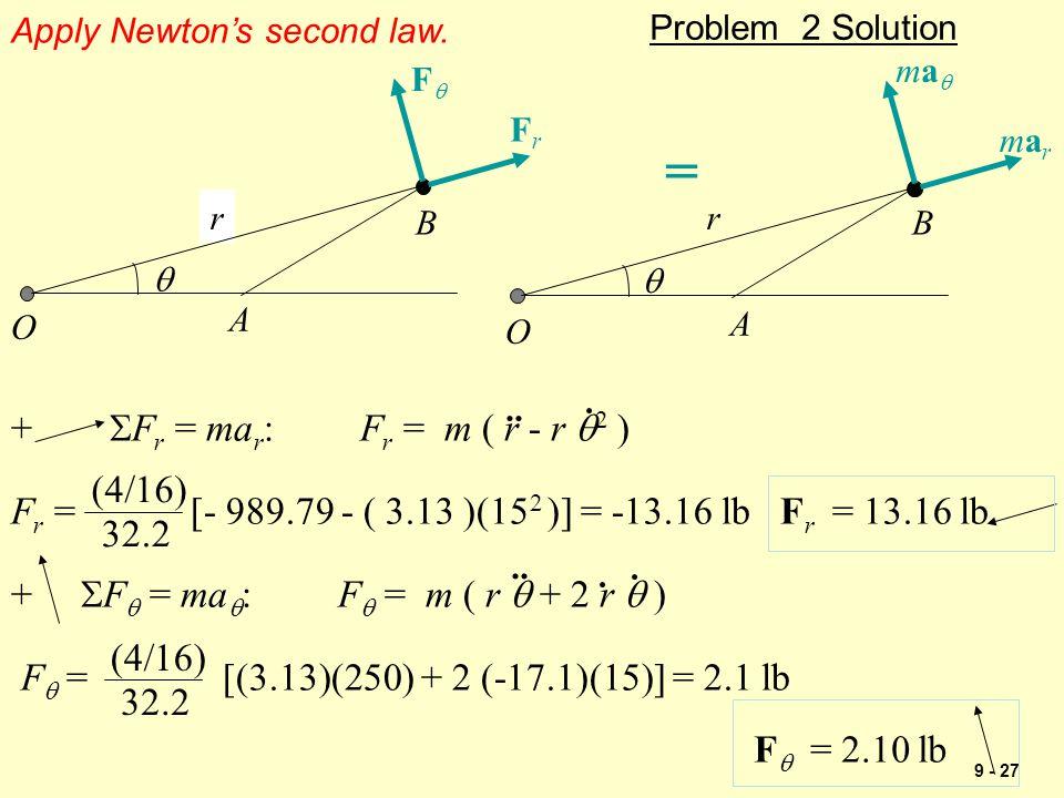 9 - 27 Problem 2 Solution r O A B   r O A B FrFr FF marmar mama = Apply Newton's second law. +  F r = ma r : F r = m ( r - r  2 ) F r = [- 989