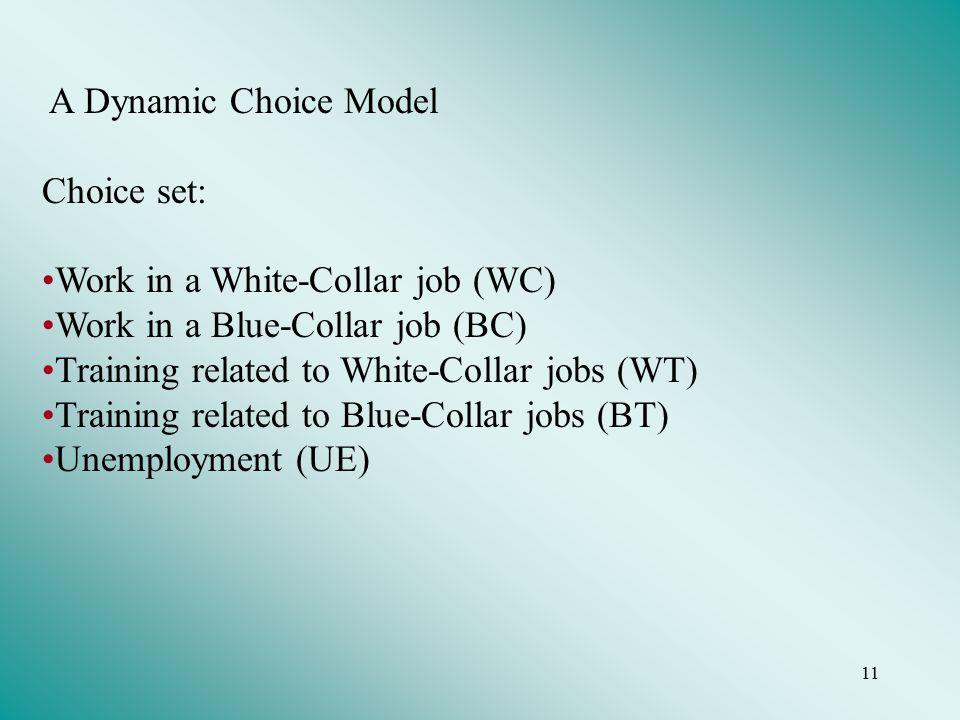 11 A Dynamic Choice Model Choice set: Work in a White-Collar job (WC) Work in a Blue-Collar job (BC) Training related to White-Collar jobs (WT) Training related to Blue-Collar jobs (BT) Unemployment (UE)