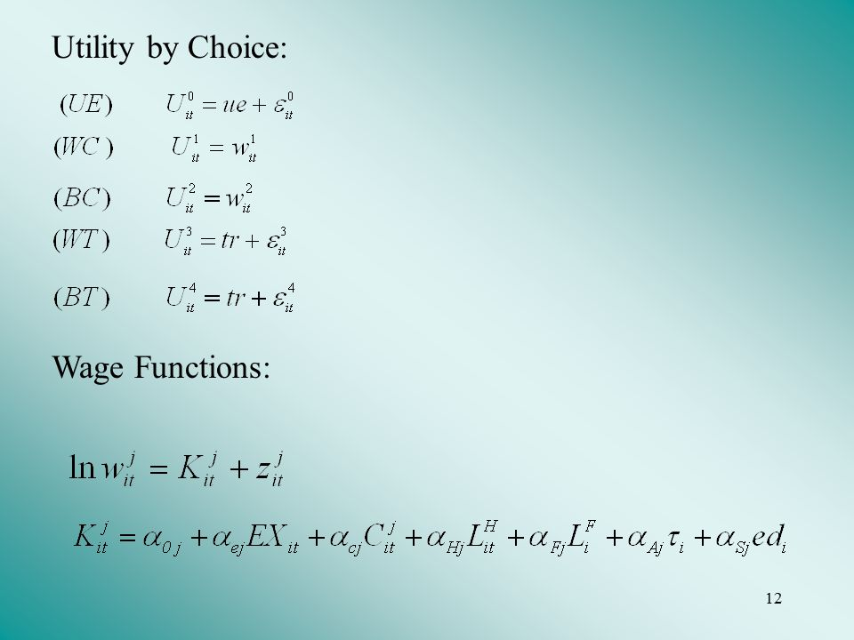 12 Utility by Choice: Wage Functions: