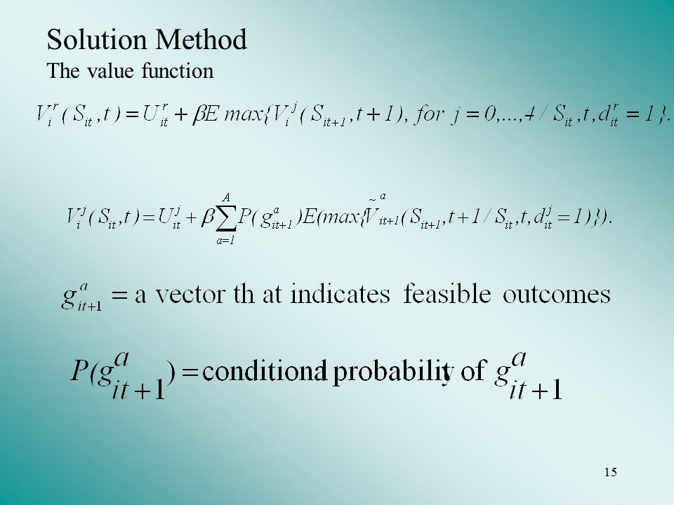 15 Solution Method The value function