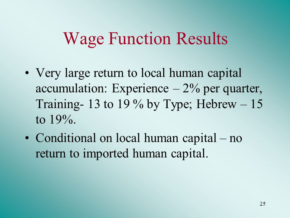 25 Wage Function Results Very large return to local human capital accumulation: Experience – 2% per quarter, Training- 13 to 19 % by Type; Hebrew – 15 to 19%.