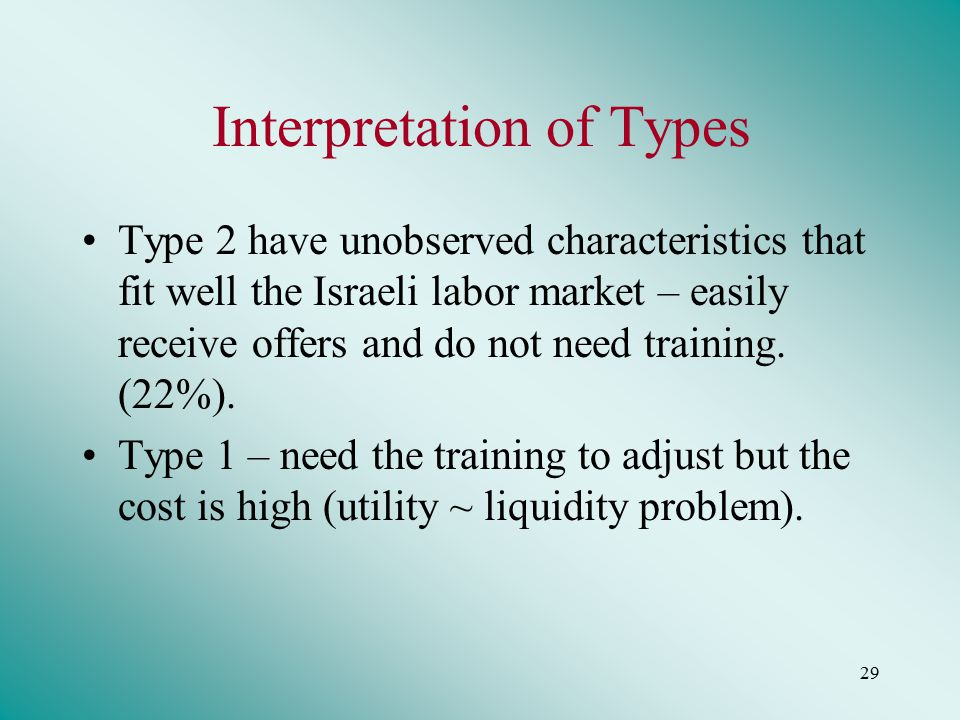 29 Interpretation of Types Type 2 have unobserved characteristics that fit well the Israeli labor market – easily receive offers and do not need training.