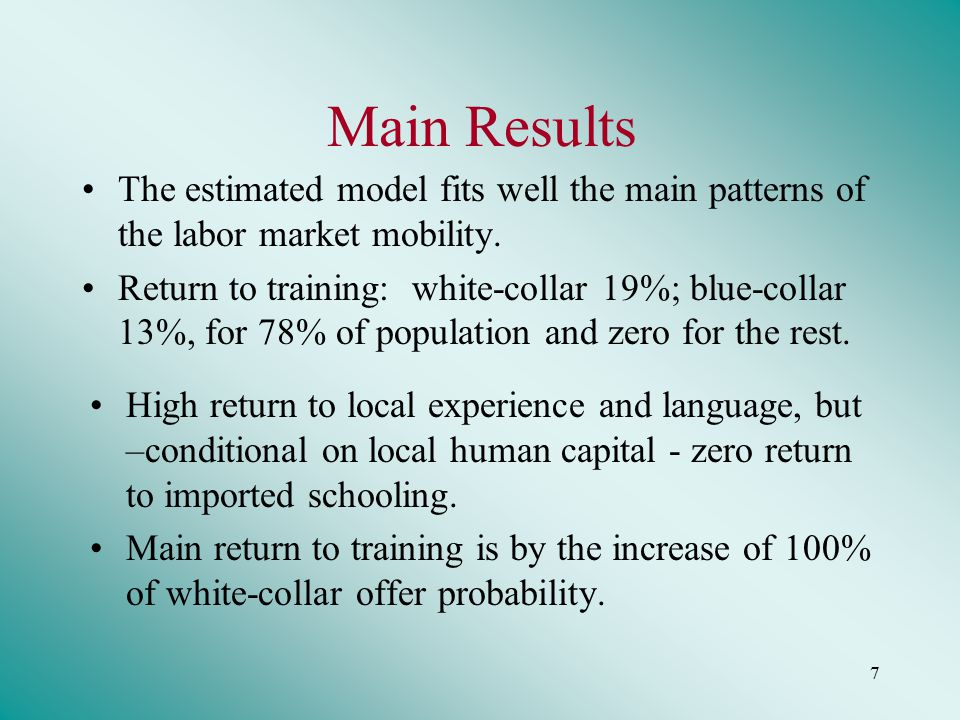 7 Main Results The estimated model fits well the main patterns of the labor market mobility.