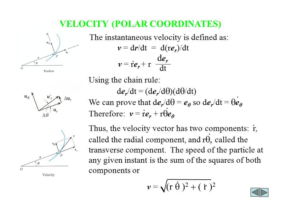 VELOCITY (POLAR COORDINATES) The instantaneous velocity is defined as: v = dr/dt = d(re r )/dt v = re r + r derder dt.