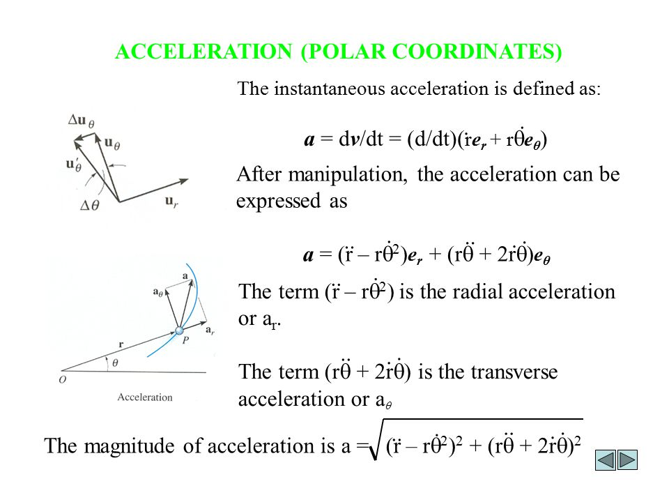 ACCELERATION (POLAR COORDINATES) After manipulation, the acceleration can be expressed as a = (r – r  2 ) e r + (r  + 2r  ) e θ......