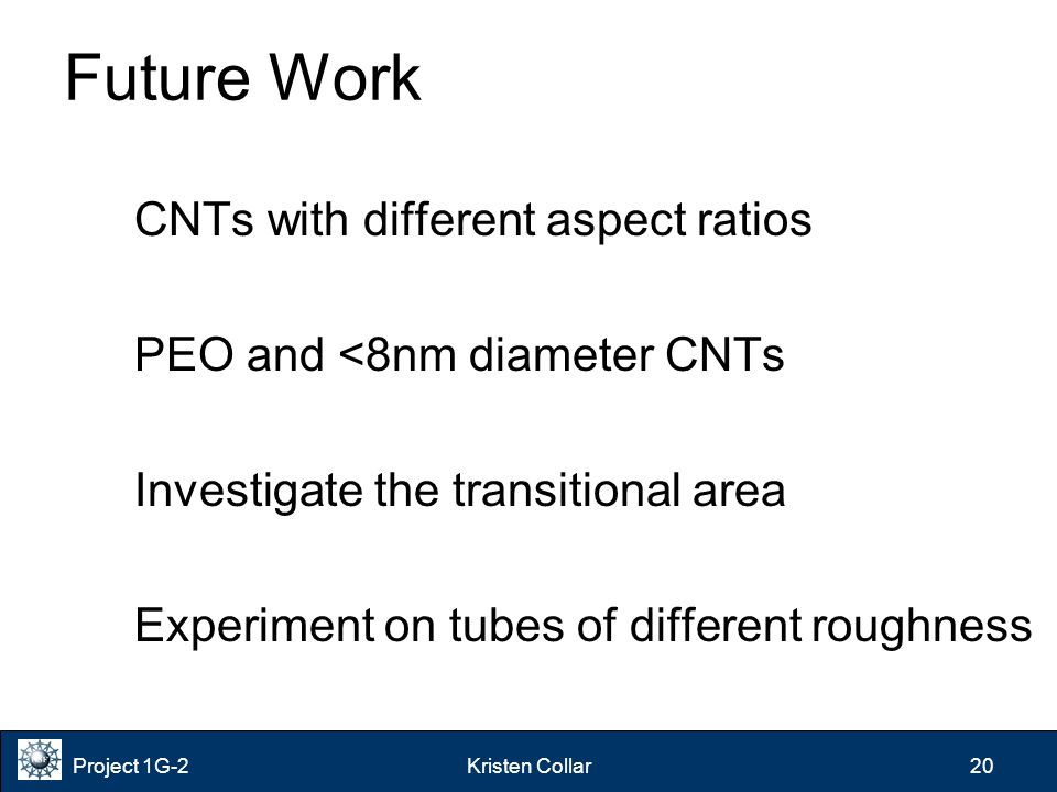 Project 1G-2Kristen Collar 20 Future Work CNTs with different aspect ratios PEO and <8nm diameter CNTs Investigate the transitional area Experiment on tubes of different roughness