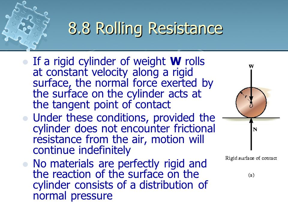 8.8 Rolling Resistance If a rigid cylinder of weight W rolls at constant velocity along a rigid surface, the normal force exerted by the surface on th