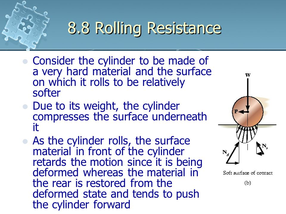 8.8 Rolling Resistance Consider the cylinder to be made of a very hard material and the surface on which it rolls to be relatively softer Due to its w