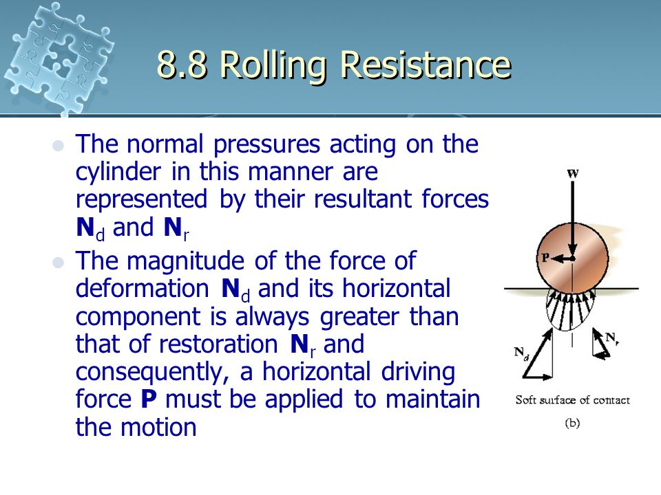 8.8 Rolling Resistance The normal pressures acting on the cylinder in this manner are represented by their resultant forces N d and N r The magnitude