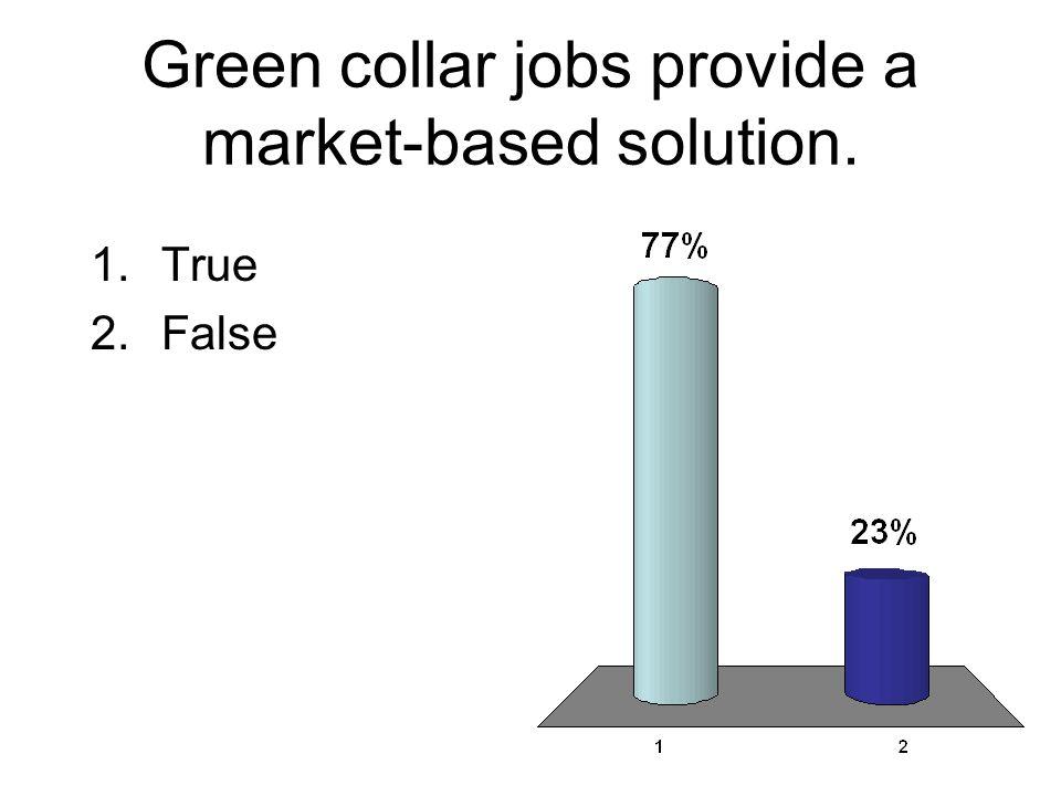 Green collar jobs provide a market-based solution. 1.True 2.False