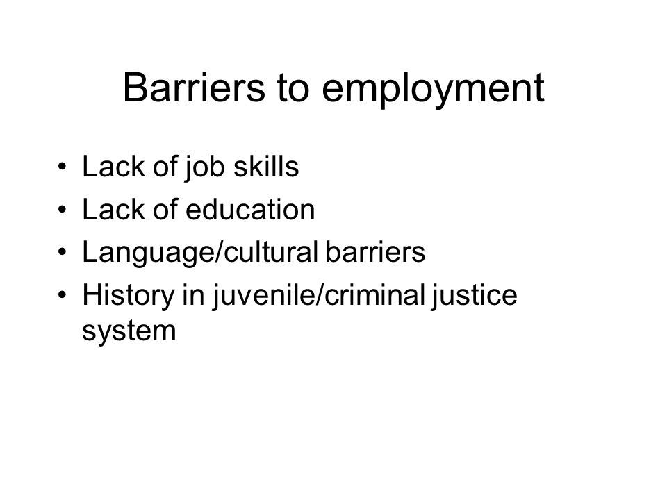 Barriers to employment Lack of job skills Lack of education Language/cultural barriers History in juvenile/criminal justice system