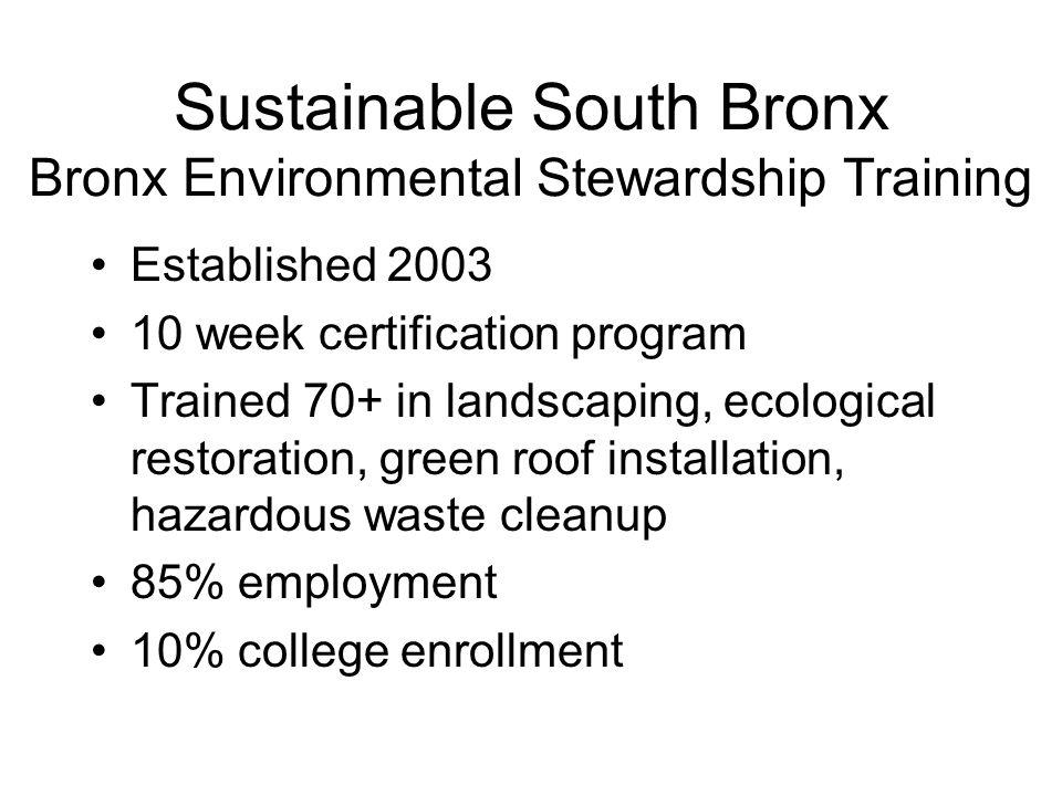 Sustainable South Bronx Bronx Environmental Stewardship Training Established 2003 10 week certification program Trained 70+ in landscaping, ecological restoration, green roof installation, hazardous waste cleanup 85% employment 10% college enrollment